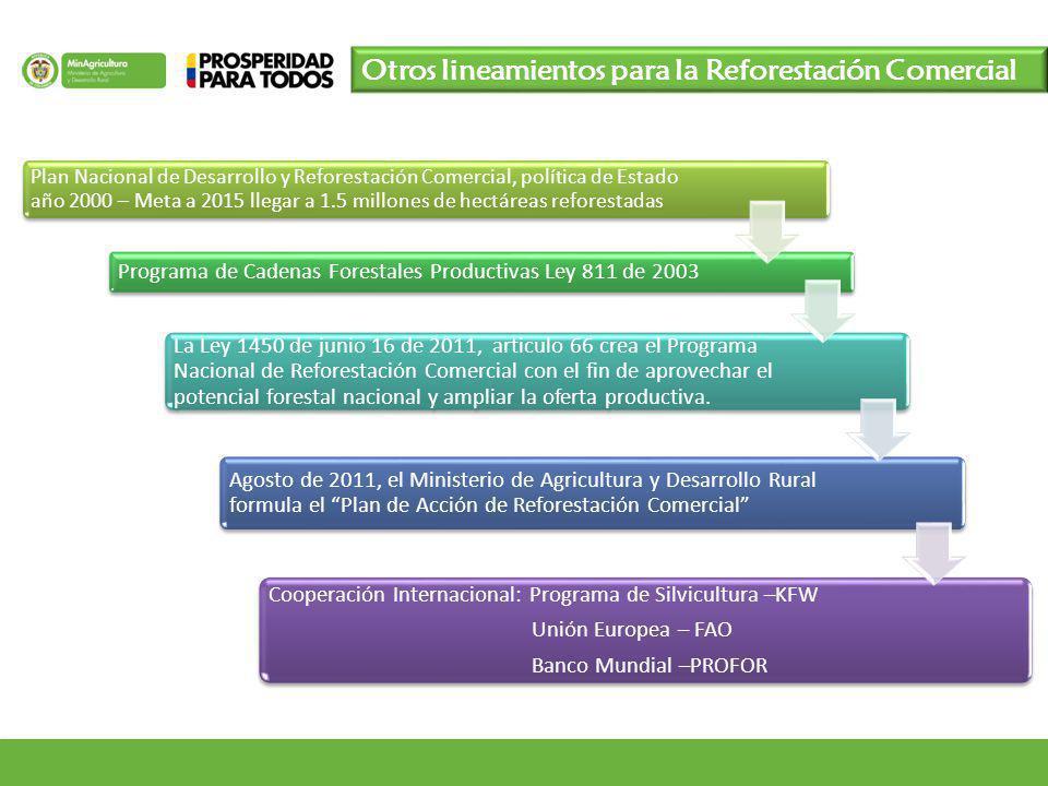 Otros lineamientos para la Reforestación Comercial Plan Nacional de Desarrollo y Reforestación Comercial, política de Estado año 2000 – Meta a 2015 ll