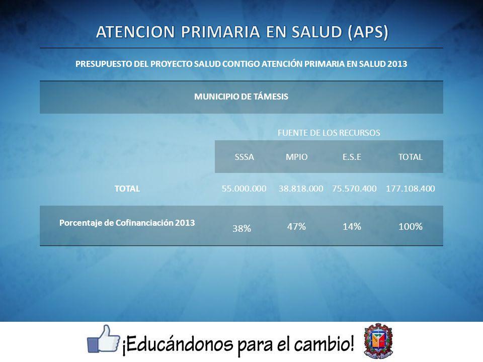 PRESUPUESTO DEL PROYECTO SALUD CONTIGO ATENCIÓN PRIMARIA EN SALUD 2013 MUNICIPIO DE TÁMESIS FUENTE DE LOS RECURSOS SSSAMPIOE.S.ETOTAL 55.000.00038.818.00075.570.400177.108.400 Porcentaje de Cofinanciación 2013 38% 47%14%100%