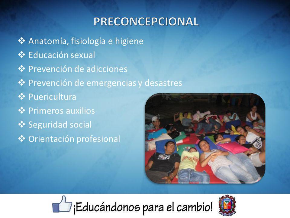 Anatomía, fisiología e higiene Educación sexual Prevención de adicciones Prevención de emergencias y desastres Puericultura Primeros auxilios Seguridad social Orientación profesional