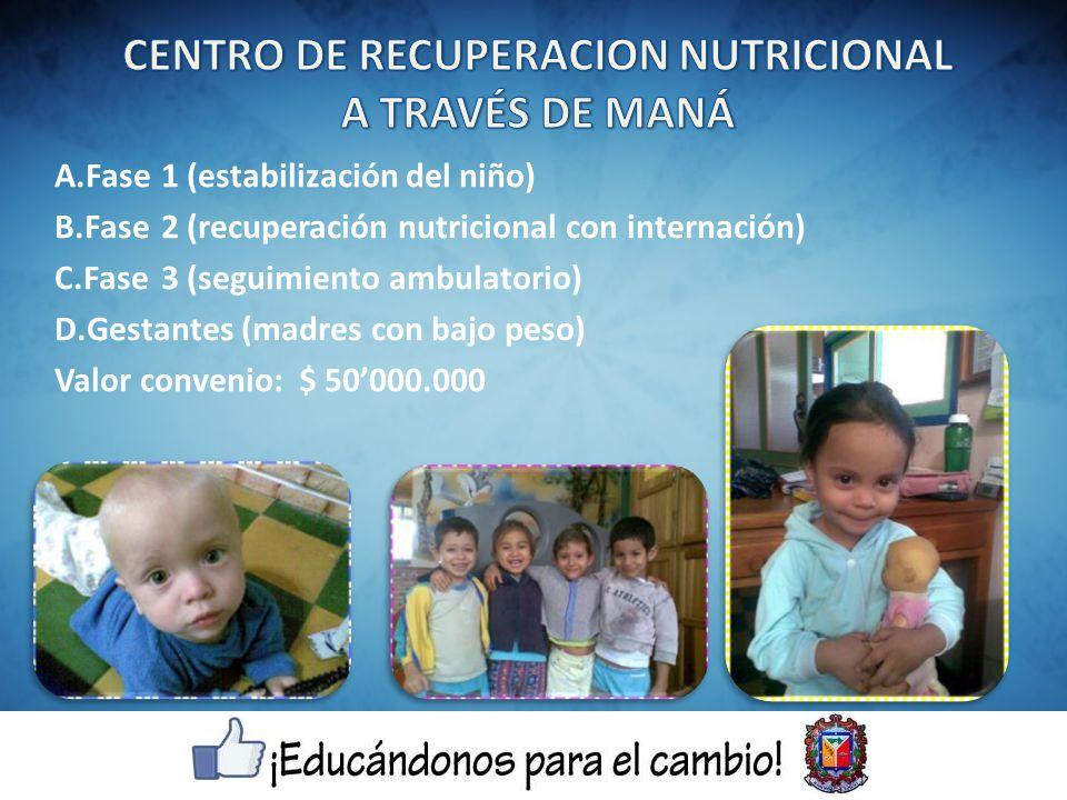 A.Fase1 (estabilización del niño) B.Fase2 (recuperación nutricional con internación) C.Fase3 (seguimiento ambulatorio) D.Gestantes (madres con bajo peso) Valor convenio: $ 50000.000
