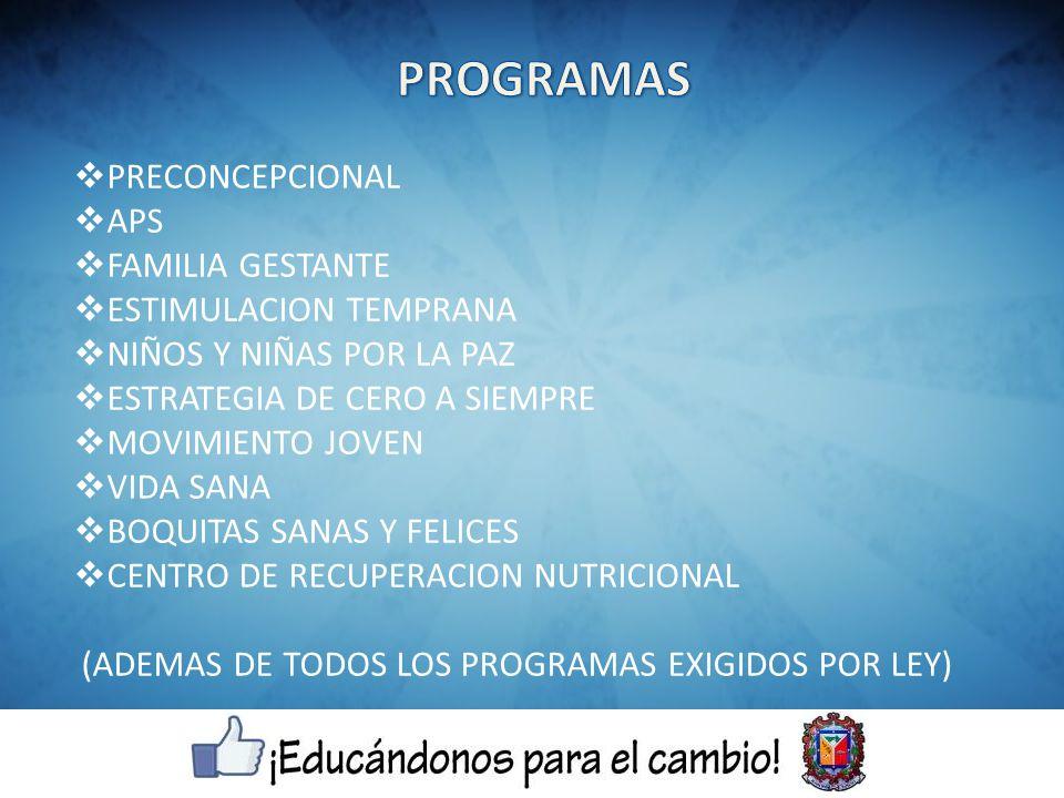 PRECONCEPCIONAL APS FAMILIA GESTANTE ESTIMULACION TEMPRANA NIÑOS Y NIÑAS POR LA PAZ ESTRATEGIA DE CERO A SIEMPRE MOVIMIENTO JOVEN VIDA SANA BOQUITAS SANAS Y FELICES CENTRO DE RECUPERACION NUTRICIONAL (ADEMAS DE TODOS LOS PROGRAMAS EXIGIDOS POR LEY)
