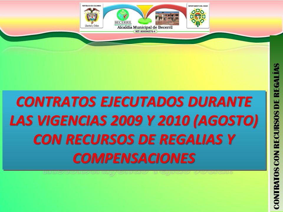 CONTRATOS EJECUTADOS DURANTE LAS VIGENCIAS 2009 Y 2010 (AGOSTO) CON RECURSOS DE REGALIAS Y COMPENSACIONES