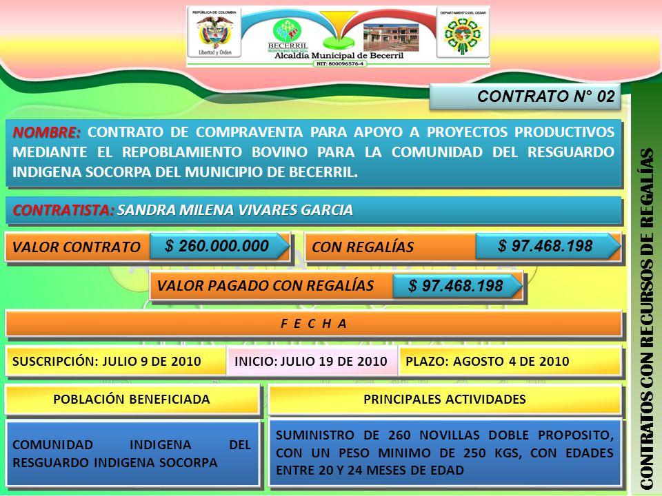 CONTRATO N° 02 CONTRATOS CON RECURSOS DE REGALÍAS NOMBRE: NOMBRE: CONTRATO DE COMPRAVENTA PARA APOYO A PROYECTOS PRODUCTIVOS MEDIANTE EL REPOBLAMIENTO BOVINO PARA LA COMUNIDAD DEL RESGUARDO INDIGENA SOCORPA DEL MUNICIPIO DE BECERRIL.