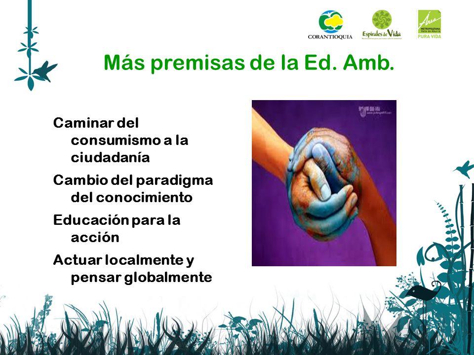 Más premisas de la Ed. Amb. Caminar del consumismo a la ciudadanía Cambio del paradigma del conocimiento Educación para la acción Actuar localmente y