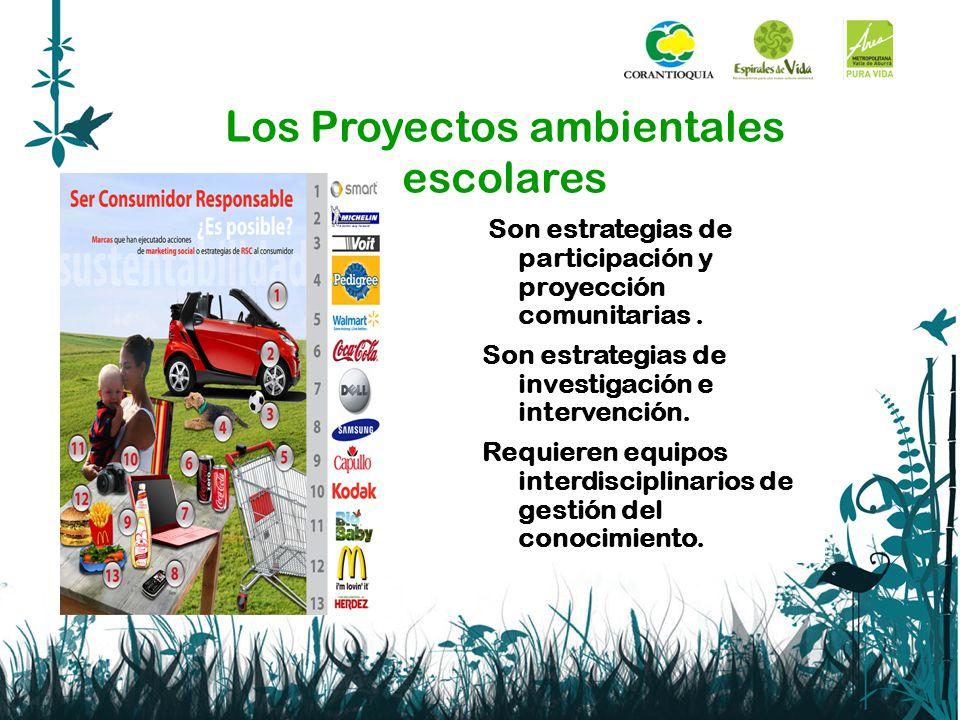 Los Proyectos ambientales escolares Son estrategias de participación y proyección comunitarias. Son estrategias de investigación e intervención. Requi