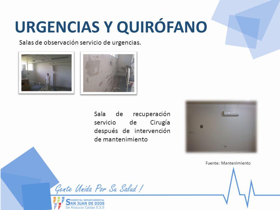 URGENCIAS Y QUIRÓFANO Salas de observación servicio de urgencias. Fuente: Mantenimiento Sala de recuperación servicio de Cirugía después de intervenci