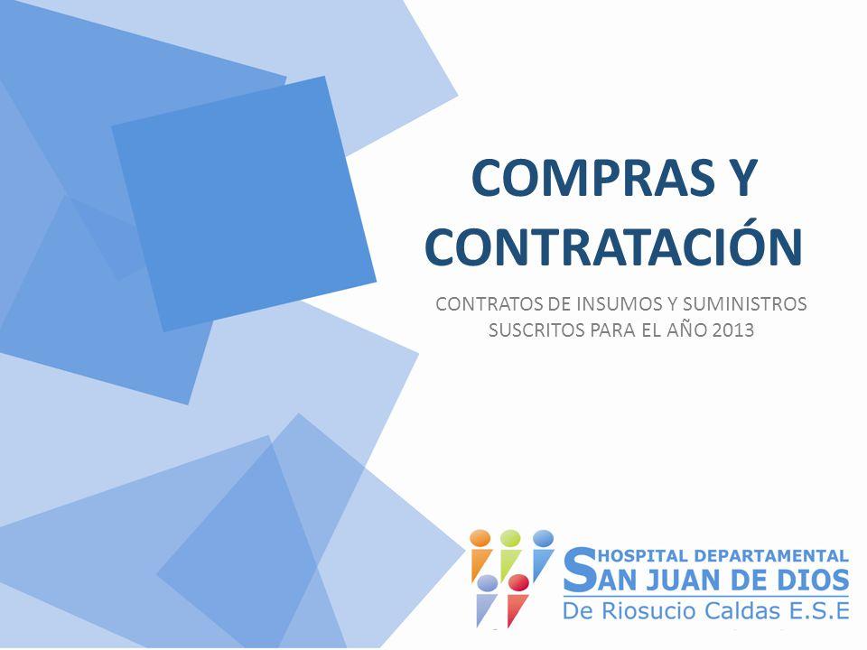 COMPRAS Y CONTRATACIÓN CONTRATOS DE INSUMOS Y SUMINISTROS SUSCRITOS PARA EL AÑO 2013