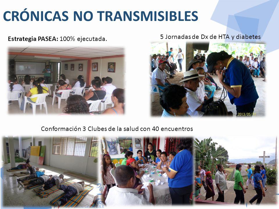 CRÓNICAS NO TRANSMISIBLES Estrategia PASEA: 100% ejecutada. 5 Jornadas de Dx de HTA y diabetes Conformación 3 Clubes de la salud con 40 encuentros