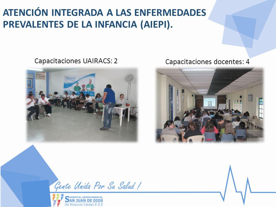 ATENCIÓN INTEGRADA A LAS ENFERMEDADES PREVALENTES DE LA INFANCIA (AIEPI). Capacitaciones UAIRACS: 2 Capacitaciones docentes: 4