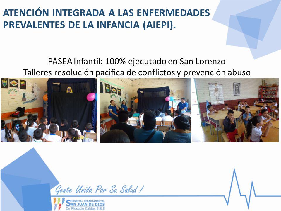 ATENCIÓN INTEGRADA A LAS ENFERMEDADES PREVALENTES DE LA INFANCIA (AIEPI). PASEA Infantil: 100% ejecutado en San Lorenzo Talleres resolución pacifica d