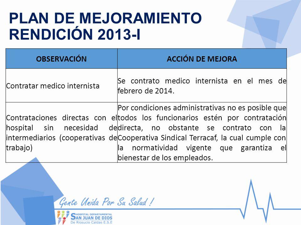 PLAN DE MEJORAMIENTO RENDICIÓN 2013-I OBSERVACIÓNACCIÓN DE MEJORA Contratar medico internista Se contrato medico internista en el mes de febrero de 20