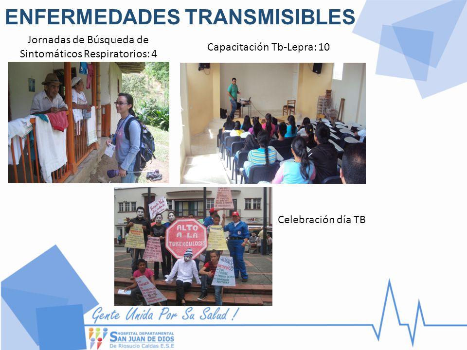 ENFERMEDADES TRANSMISIBLES Jornadas de Búsqueda de Sintomáticos Respiratorios: 4 Capacitación Tb-Lepra: 10 Celebración día TB