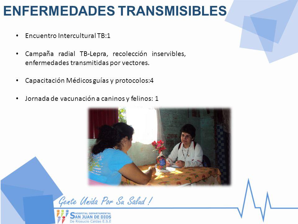 ENFERMEDADES TRANSMISIBLES Encuentro Intercultural TB:1 Campaña radial TB-Lepra, recolección inservibles, enfermedades transmitidas por vectores. Capa