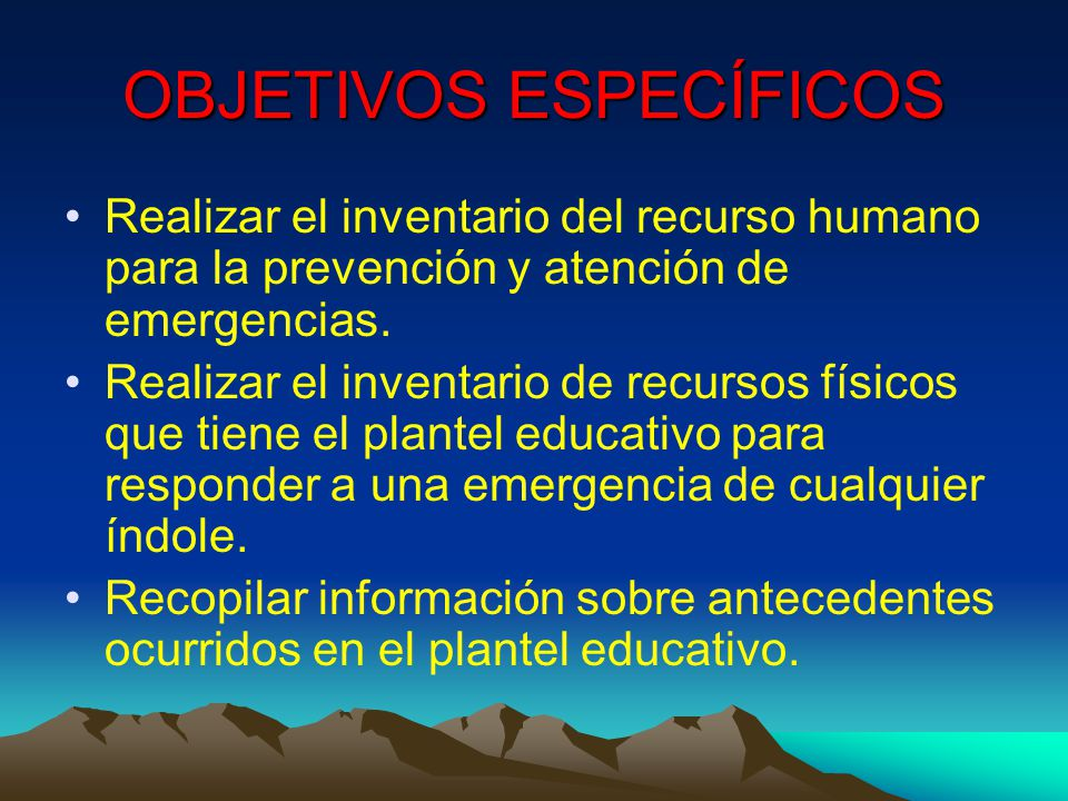 OBJETIVOS ESPECÍFICOS Establecer un procedimiento normalizado de evacuación para todos los usuarios de las instalaciones.