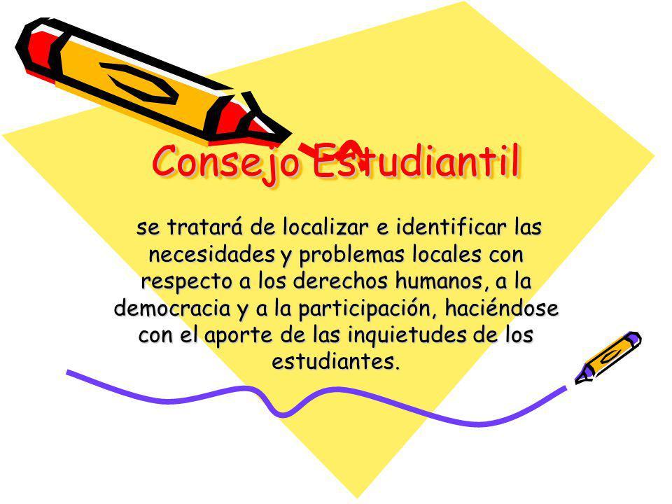 Consejo Estudiantil se tratará de localizar e identificar las necesidades y problemas locales con respecto a los derechos humanos, a la democracia y a la participación, haciéndose con el aporte de las inquietudes de los estudiantes.