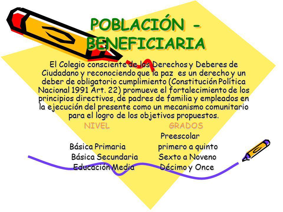 POBLACIÓN - BENEFICIARIA El Colegio consciente de los Derechos y Deberes de Ciudadano y reconociendo que la paz es un derecho y un deber de obligatorio cumplimiento (Constitución Política Nacional 1991 Art.