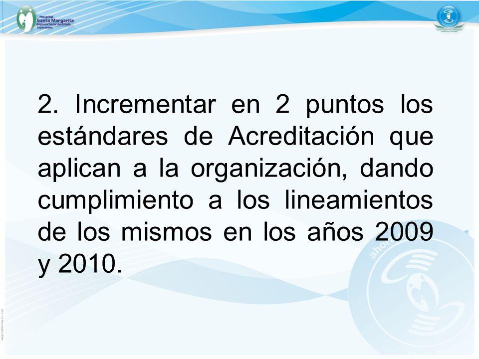 2. Incrementar en 2 puntos los estándares de Acreditación que aplican a la organización, dando cumplimiento a los lineamientos de los mismos en los añ