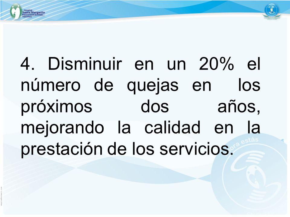4. Disminuir en un 20% el número de quejas en los próximos dos años, mejorando la calidad en la prestación de los servicios.