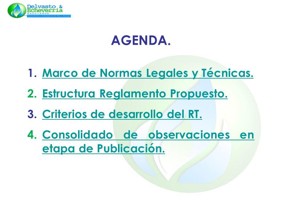 AGENDA. 1.Marco de Normas Legales y Técnicas.Marco de Normas Legales y Técnicas. 2.Estructura Reglamento Propuesto.Estructura Reglamento Propuesto. 3.