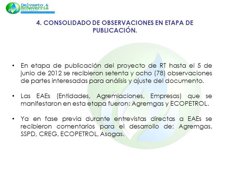 4. CONSOLIDADO DE OBSERVACIONES EN ETAPA DE PUBLICACIÓN. En etapa de publicación del proyecto de RT hasta el 5 de junio de 2012 se recibieron setenta