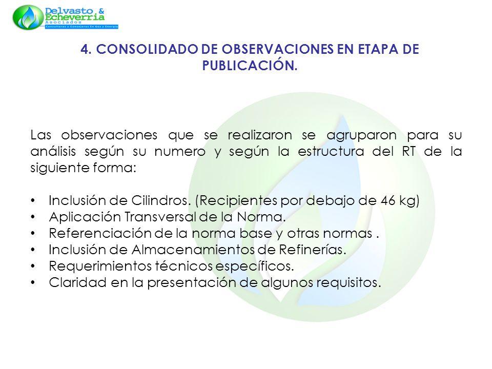 4. CONSOLIDADO DE OBSERVACIONES EN ETAPA DE PUBLICACIÓN. Las observaciones que se realizaron se agruparon para su análisis según su numero y según la