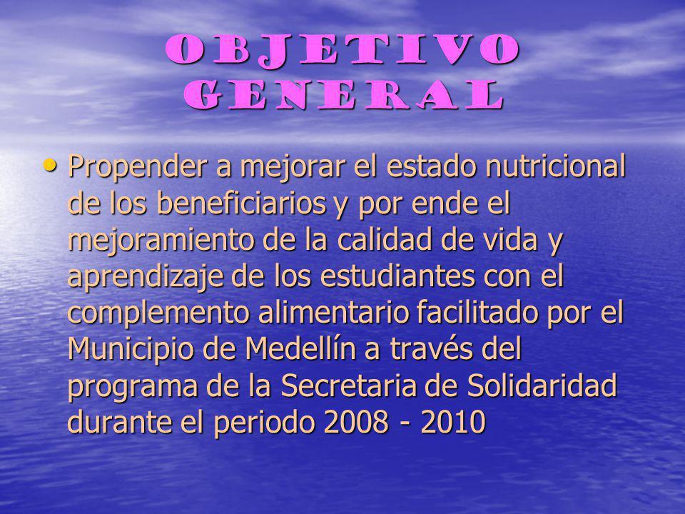 OBJETIVO GENERAL Propender a mejorar el estado nutricional de los beneficiarios y por ende el mejoramiento de la calidad de vida y aprendizaje de los estudiantes con el complemento alimentario facilitado por el Municipio de Medellín a través del programa de la Secretaria de Solidaridad durante el periodo 2008 - 2010 Propender a mejorar el estado nutricional de los beneficiarios y por ende el mejoramiento de la calidad de vida y aprendizaje de los estudiantes con el complemento alimentario facilitado por el Municipio de Medellín a través del programa de la Secretaria de Solidaridad durante el periodo 2008 - 2010