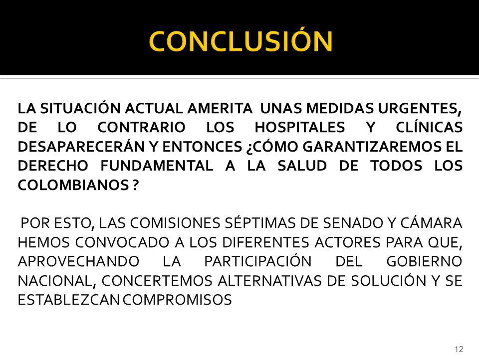 LA SITUACIÓN ACTUAL AMERITA UNAS MEDIDAS URGENTES, DE LO CONTRARIO LOS HOSPITALES Y CLÍNICAS DESAPARECERÁN Y ENTONCES ¿CÓMO GARANTIZAREMOS EL DERECHO FUNDAMENTAL A LA SALUD DE TODOS LOS COLOMBIANOS .