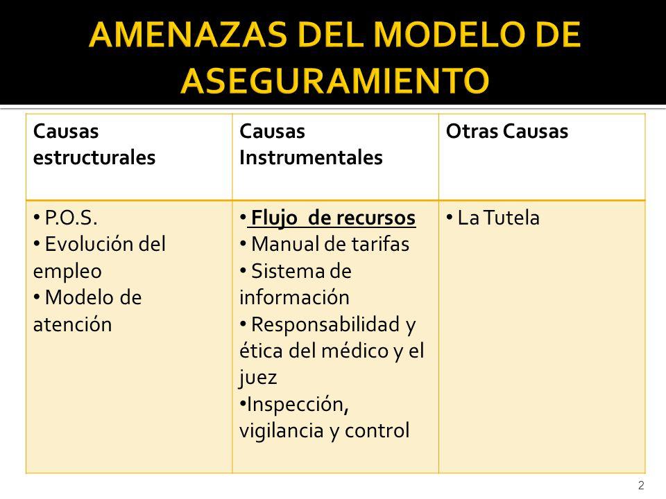 Causas estructurales Causas Instrumentales Otras Causas P.O.S. Evolución del empleo Modelo de atención Flujo de recursos Manual de tarifas Sistema de