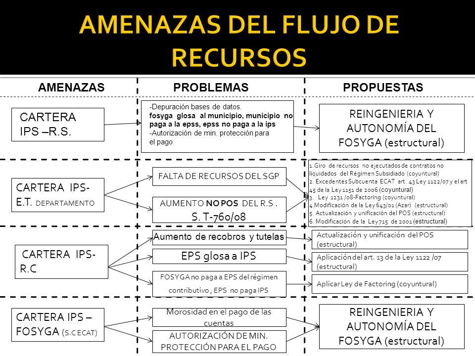 7 CARTERA IPS- E.T. DEPARTAMENTO CARTERA IPS – FOSYGA ( S.C ECAT) CARTERA IPS –R.S. PROBLEMASAMENAZAS PROPUESTAS CARTERA IPS- R.C FALTA DE RECURSOS DE