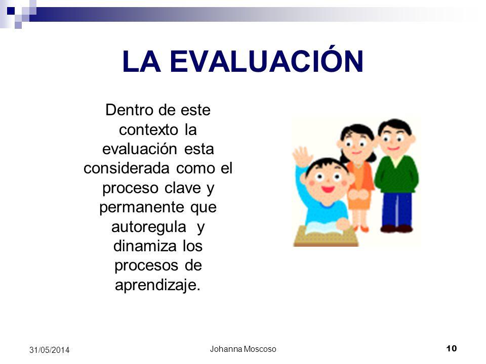 Johanna Moscoso 10 31/05/2014 LA EVALUACIÓN Dentro de este contexto la evaluación esta considerada como el proceso clave y permanente que autoregula y