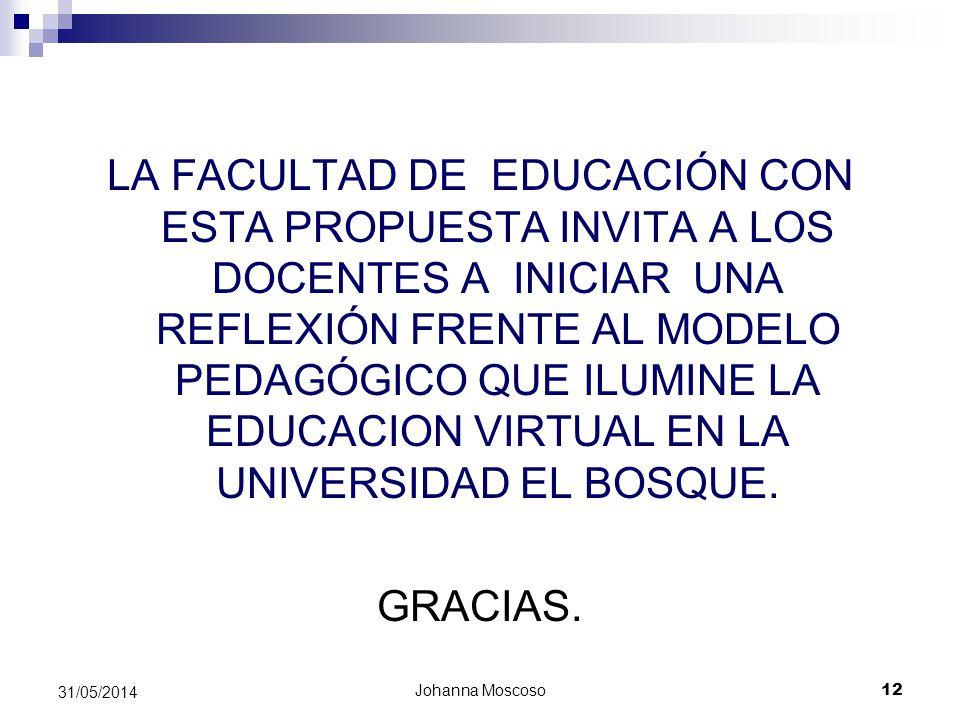Johanna Moscoso 12 31/05/2014 LA FACULTAD DE EDUCACIÓN CON ESTA PROPUESTA INVITA A LOS DOCENTES A INICIAR UNA REFLEXIÓN FRENTE AL MODELO PEDAGÓGICO QU