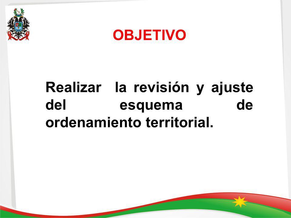 OBJETIVO Realizar la revisión y ajuste del esquema de ordenamiento territorial.