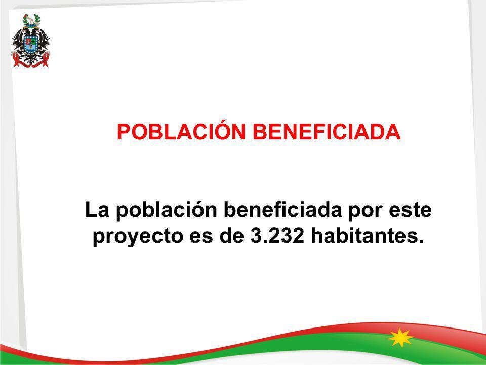 POBLACIÓN BENEFICIADA La población beneficiada por este proyecto es de 3.232 habitantes.