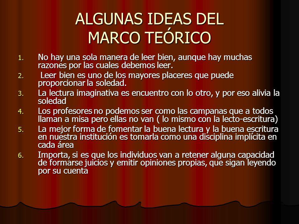 ALGUNAS IDEAS DEL MARCO TEÓRICO 1. No hay una sola manera de leer bien, aunque hay muchas razones por las cuales debemos leer. 2. Leer bien es uno de