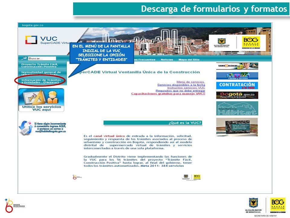 Descarga de formularios y formatos SELECCIONE EL TRÁMITE