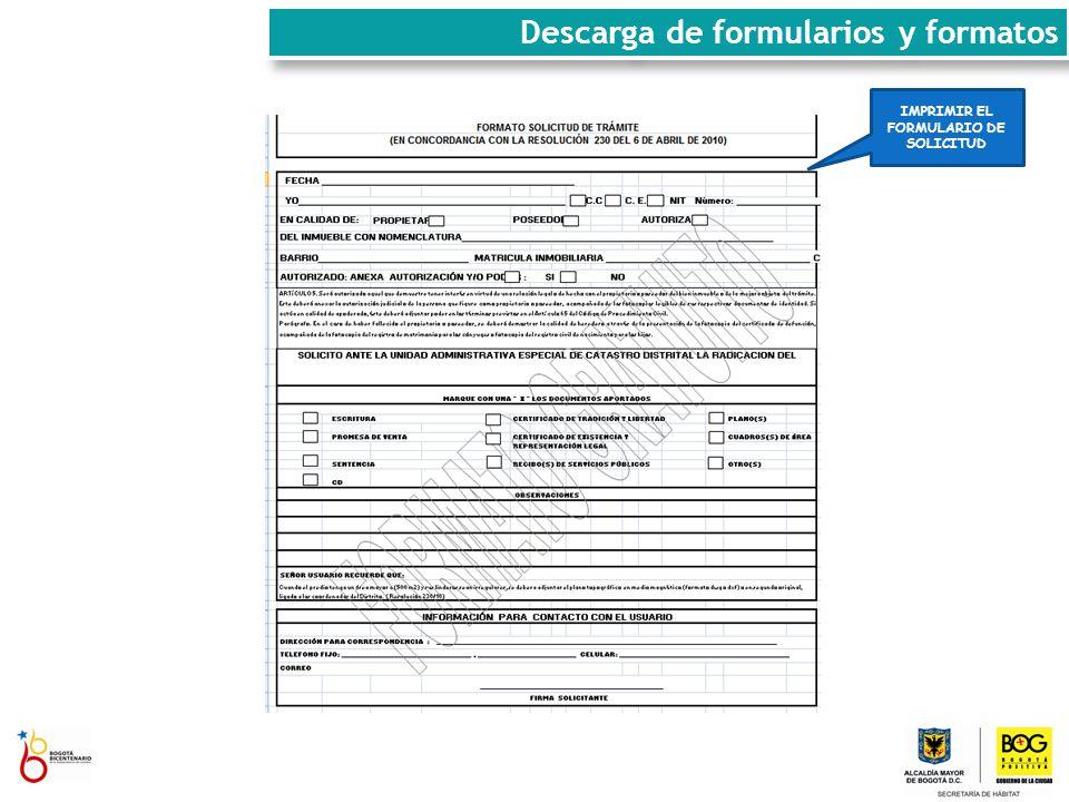 Descarga de formularios y formatos IMPRIMIR EL FORMULARIO DE SOLICITUD