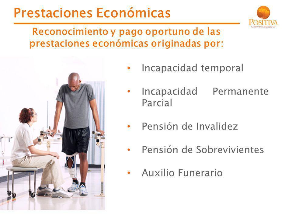 Prestaciones Económicas Incapacidad temporal Incapacidad Permanente Parcial Pensión de Invalidez Pensión de Sobrevivientes Auxilio Funerario Reconocim