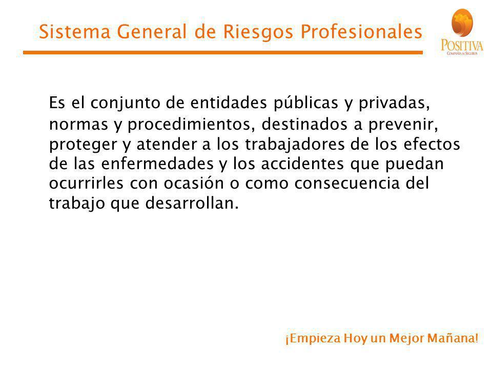 ¡Empieza Hoy un Mejor Mañana! Sistema General de Riesgos Profesionales Es el conjunto de entidades públicas y privadas, normas y procedimientos, desti