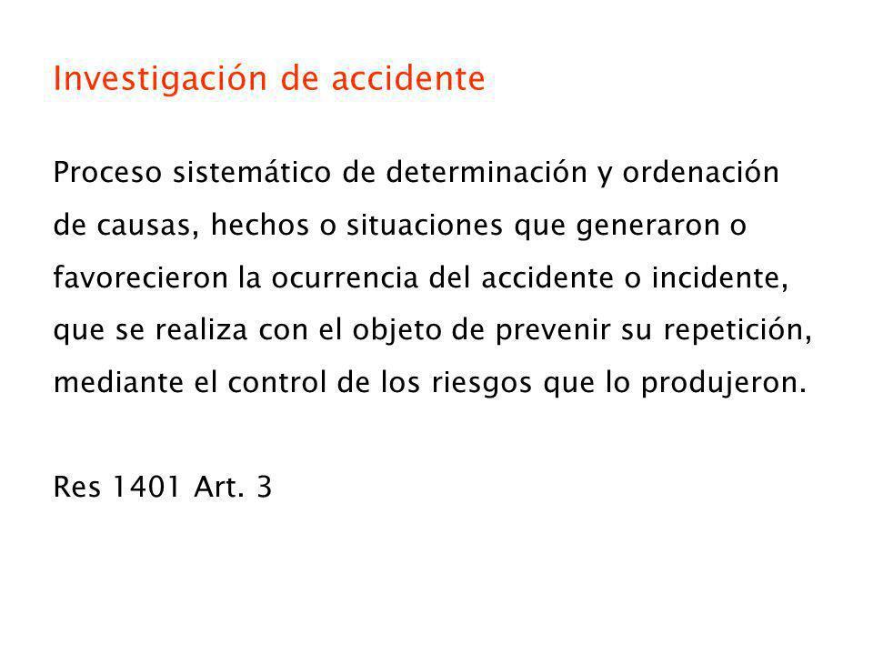 Investigación de accidente Proceso sistemático de determinación y ordenación de causas, hechos o situaciones que generaron o favorecieron la ocurrenci
