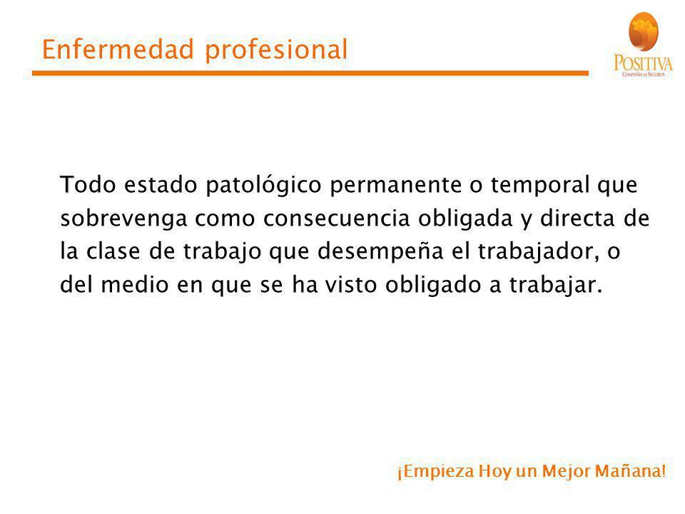 Enfermedad profesional T Todo estado patológico permanente o temporal que sobrevenga como consecuencia obligada y directa de la clase de trabajo que d