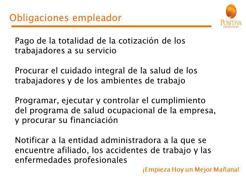 ¡Empieza Hoy un Mejor Mañana! Obligaciones empleador Pago de la totalidad de la cotización de los trabajadores a su servicio Procurar el cuidado integ