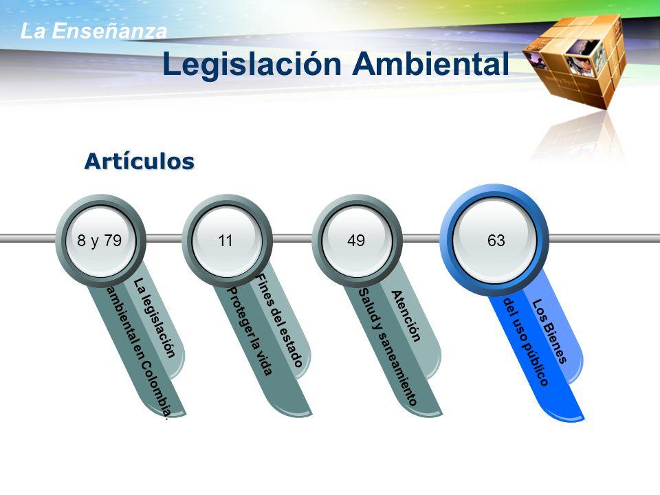 La Enseñanza Legislación Ambiental ambiental en Colombia. La legislación Proteger la vida Fines del estado Salud y saneamiento Atención del uso públic