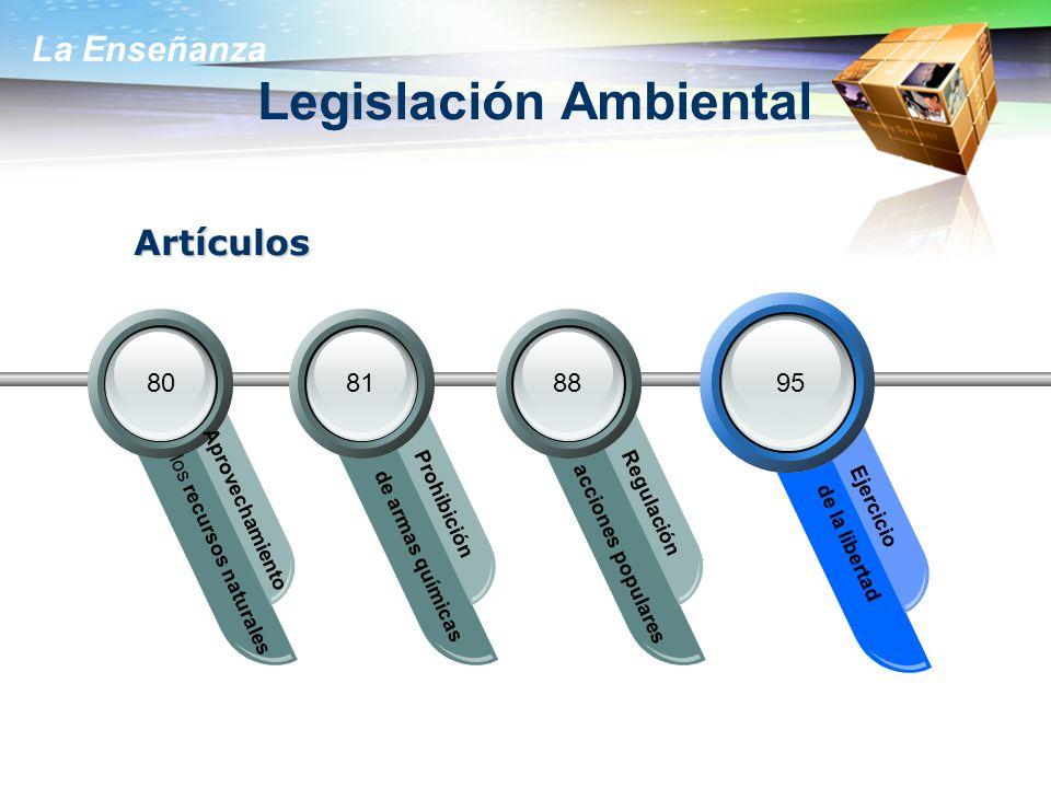 La Enseñanza Legislación Ambiental los recursos naturales Aprovechamiento de armas químicas Prohibición acciones populares Regulación de la libertad E