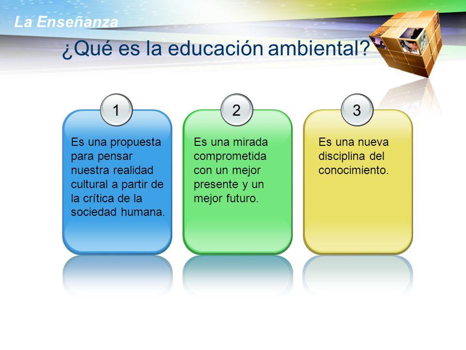 La Enseñanza ¿Qué es la educación ambiental? 1 Es una propuesta para pensar nuestra realidad cultural a partir de la crítica de la sociedad humana. 2