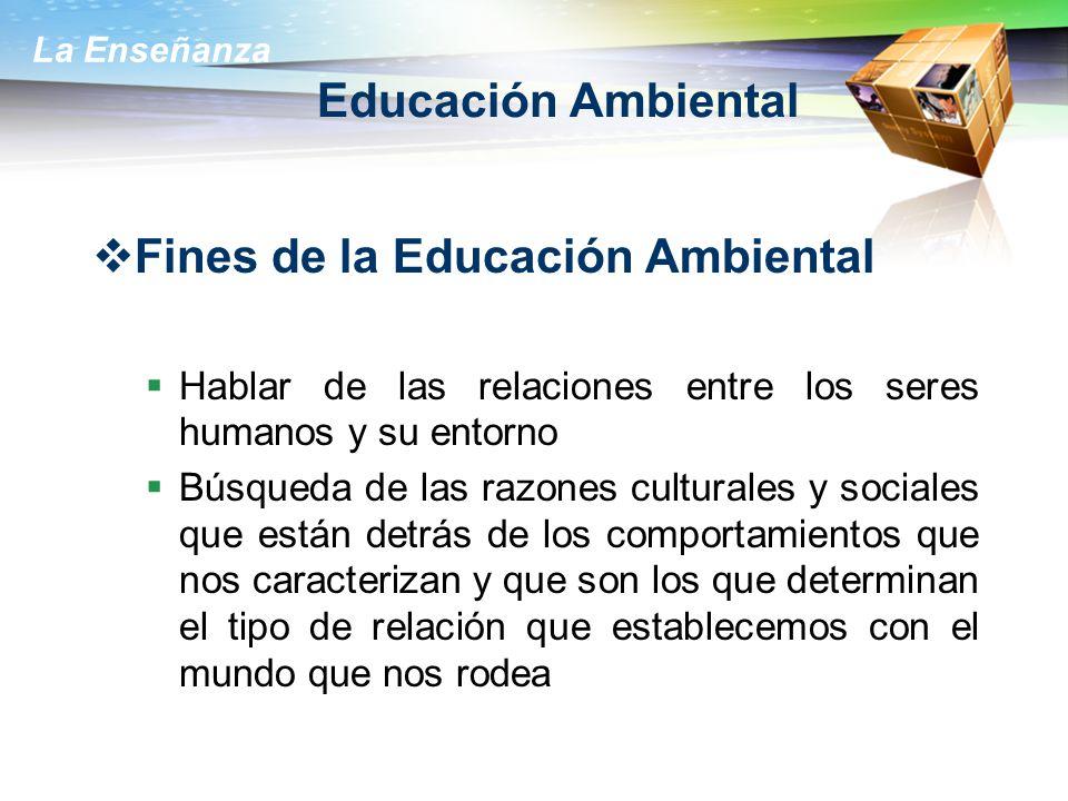 La Enseñanza Educación Ambiental Fines de la Educación Ambiental Hablar de las relaciones entre los seres humanos y su entorno Búsqueda de las razones