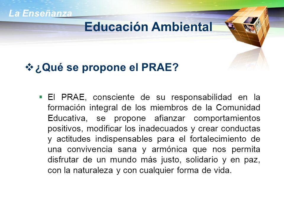 La Enseñanza Educación Ambiental ¿Qué se propone el PRAE? El PRAE, consciente de su responsabilidad en la formación integral de los miembros de la Com