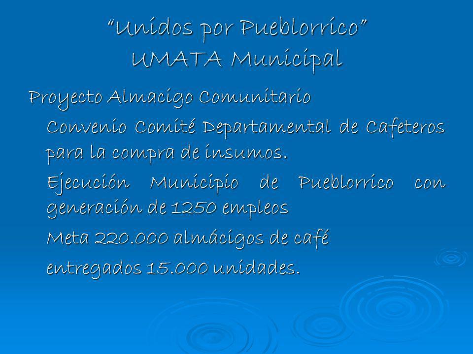 Unidos por Pueblorrico UMATA Municipal Proyecto Almacigo Comunitario Convenio Comité Departamental de Cafeteros para la compra de insumos. Ejecución M
