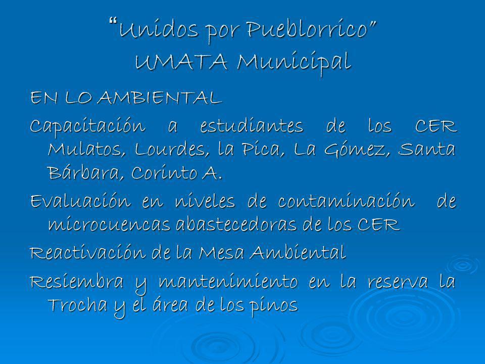 Unidos por Pueblorrico UMATA Municipal Unidos por Pueblorrico UMATA Municipal EN LO AMBIENTAL Capacitación a estudiantes de los CER Mulatos, Lourdes,