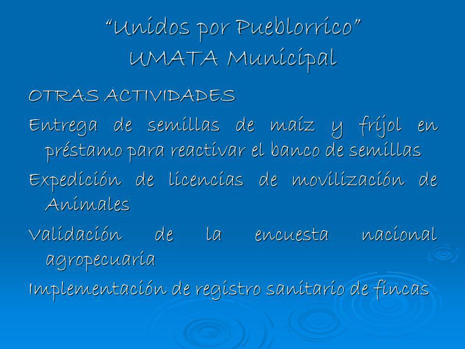 Unidos por Pueblorrico UMATA Municipal OTRAS ACTIVIDADES Entrega de semillas de maíz y fríjol en préstamo para reactivar el banco de semillas Expedici