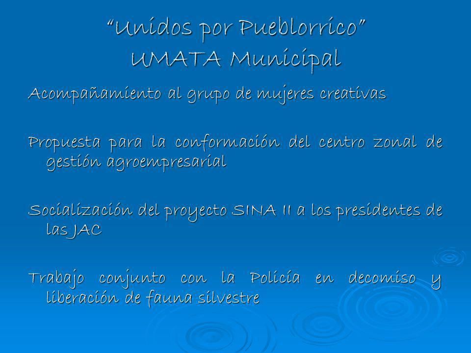 Unidos por Pueblorrico UMATA Municipal Acompañamiento al grupo de mujeres creativas Propuesta para la conformación del centro zonal de gestión agroemp